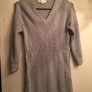 Vince Camuro  Knitted Eyelet 3/4 Sleeve Sweater